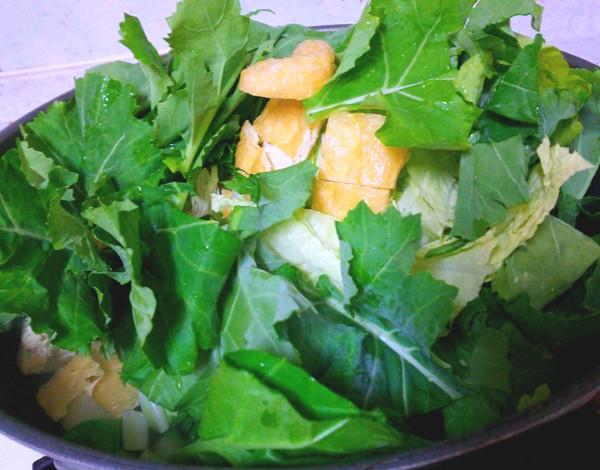 白菜とかき菜の野菜炒め